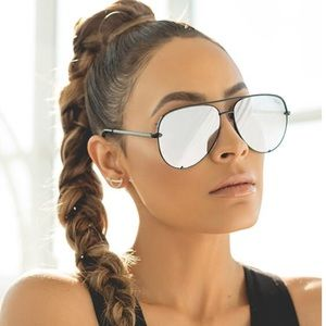 Quay x Desi High Key Sunglasses in Black/Silver